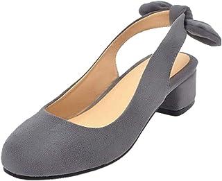ELEEMEE Women Block Heel Pumps Slip On