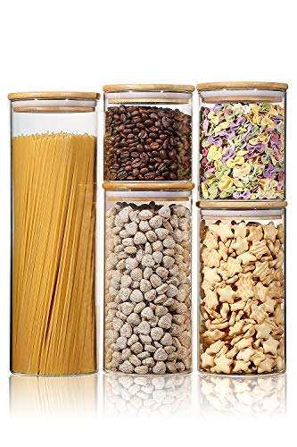 Stackable Kitchen Canisters Set, Aitsite Clear Glass Jars for Home Kitchen, Upgrade Thicken Airtight Food Storage jars with Wood Bamboo Clamp Lids for Spaghetti, Flour, Coffee, Sugar, pasta, 5 Pack