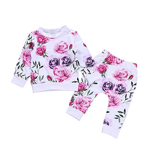 VICKY-HOHO Günstige Kinderkleidung Sommer, 12-18 Monate Neugeborene Babykleidung Blumen T-Shirt Tops + Hosen 2PCS Outfits Set Unisex Chic Kindertag Geschenk (Weiß)