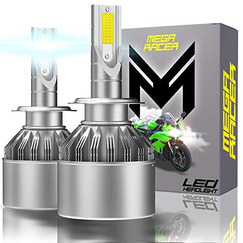 Mega Racer Motorcycle Headlight Bulb LED - H7 for High Beam and/or Low Beam 40 Watt 6000K Diamond White 8000 Lumen COB IP68 Waterproof Rating, 2 Pieces