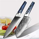 Cuchillo del cocinero Cuchillos de chef VG10 Damasco Cuchillo de cocina de acero inoxidable Profesional Utensilios de cocina herramienta Handle Blue G10 (Color : 2 PCS set)