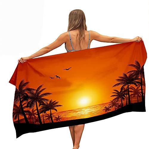 Fansu Toalla de Playa de Microfibra, Palmera Rectangular Anti Arena Secado Rápido Toalla,Impresión a Una Cara Manta para Piscina de Viaje, Playa,Yoga, Mujeres, Hombres (150x180cm,Naranja A)