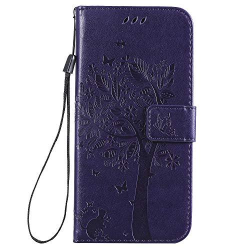 Nancen Compatible with Handyhülle LG K40 / K12 Plus Hülle, Flip-Hülle Handytasche - Standfunktion Brieftasche & Kartenfächern - Baum & Katze - Purple