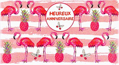 afie 69-4204 wenskaart voor verjaardag, pailletten, flamingo, diermotief, modieus, vlinder, volant, ananas, vitaminen, energie, peps, tekening gestreept, schilderstijl