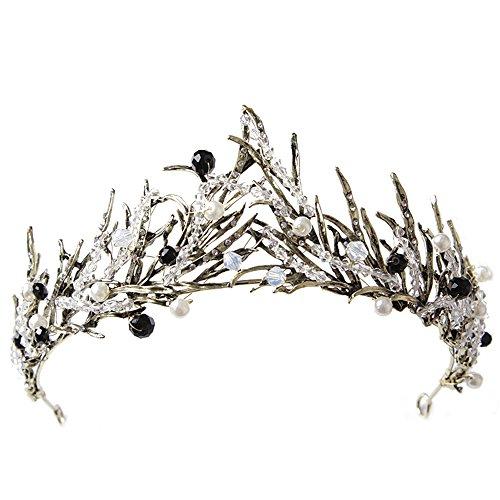 Sunshinesmile Bride Vintage Princess Hair Crown Handmade Artificial Black Rhinestone Quinceanera Bridal Crown Wedding Tiaras Hair Accessory