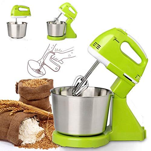 キッチンエイドスタンドミキサー、7速多機能電気食品ケーキ生地ミキサーホームハンドヘルド小麦粉パン卵食品ミキサー,グリーン