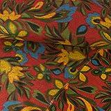 Wollstoff Blumenmuster rot senfgelb Modestoffe - Preis gilt