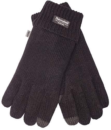 EEM Damen Strick Handschuhe JETTE-IP mit Touch-Funktion und Thinsulate Thermofutter aus Polyester, Strickmaterial aus 100% Wolle, smartphone; schwarz, M