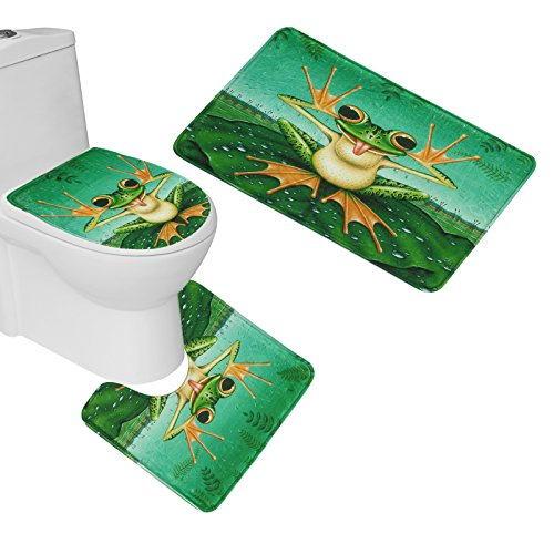 Amagical 3 Piece Toilet Seat Cover and Rug Set Bathroom Non-Slip Very Cut Frog Pedestal Rug + Lid Toilet Cover + Bath Mat Green