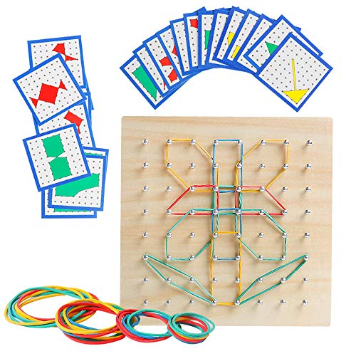 Wooden Geoboard Mathematical Manipulative Material Array Block Geo Board Graphical Educational Toys with 24Pcs Pattern Cards and Rubber Bands Shape STEM Puzzle Matrix 8x8 Brain Teaser Gift for Kid