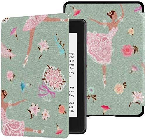 Funda de Tela Kindle Paperwhite Resistente al Agua (10a generación, versión 2018), Fondo Floral Transparente Bailarinas de Baile Funda de Tableta de Vector