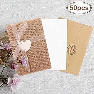 Aparty4u 50pcs Burlap Rustic Wedding Invitation Cards Printable Wedding Invitation Kit for Wedding Engagement Bridal Shower Baby Shower Graduation Party Invites