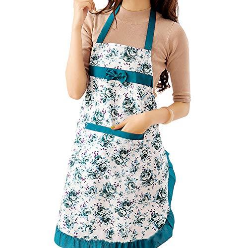 Acamifashion Women Floral Bowknot Waterproof Kitchen Restaurant Cooking Pocket Dress Apron - Green