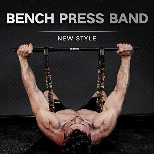 INNSTAR Adjustable Bench Press Band with Bar, Upgraded Push Up Resistance Bands, Portable Chest Builder Workout Equipment, Arm Expander for Home Workout,Gym,Fitness,Travel (Camo Brown-200LB)