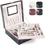 BalladHome Caja Joyero con Espejo Caja para Joyas joyero Caja de Joyas Organizador de Joyas, Caja de Relojes (Negro)