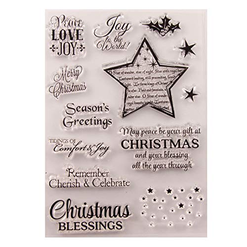 Merry Christmas Stars Blessing Words Clear Rubber Stamps for Card Making and Scrapbooking Christmas Silicone Stamps (T1600)