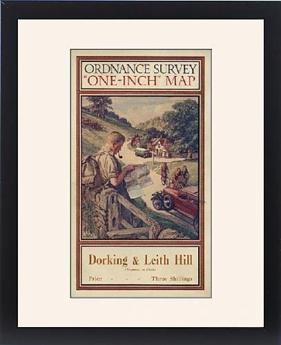 Framed Artwork of Ordnance Survey map cover - Dorking and Leith Hill