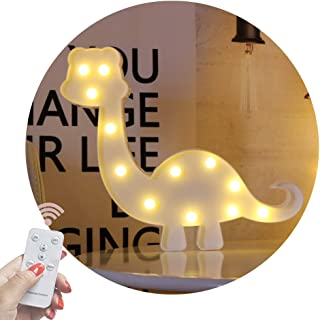 Obrecis Light Up Dinosaur Marquee Sign, Night Lights with Remote Control Timer Dimmable Dinosaur Decor for Children Kids Gift Bedroom Baby Nursery Lamp (RC White Dinosaur)