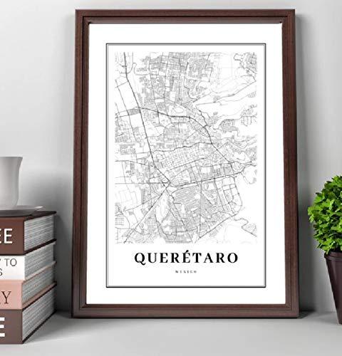 tgbhujk Cuadro en Lienzo Blanco y Negro Mapa de Querétaro Impresión de Mapa de Carreteras de la Ciudad Póster Sala de Estar nórdica Decoración de Arte de Pared para el hogar 42X60Cm Sin Marco