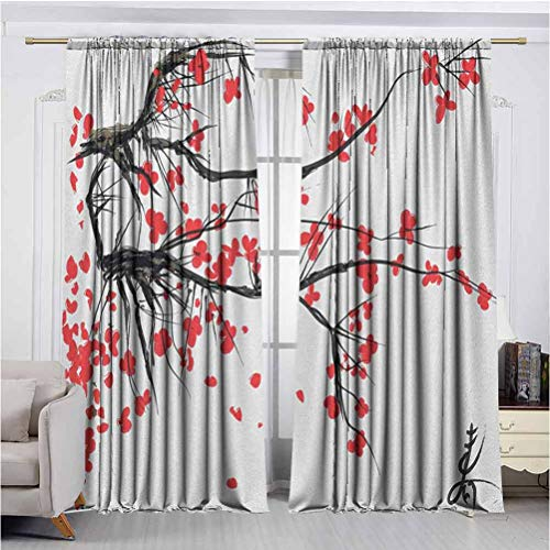 Nature Shadow Filter adds Privacy to Stylish 2 Panel Curtains Sakura Blossom Japanese Cherry Tree Garden Summertime Vintage Cultural Print Anti-Wrinkle no Fading Noise Reduction UV Protection W72 x L
