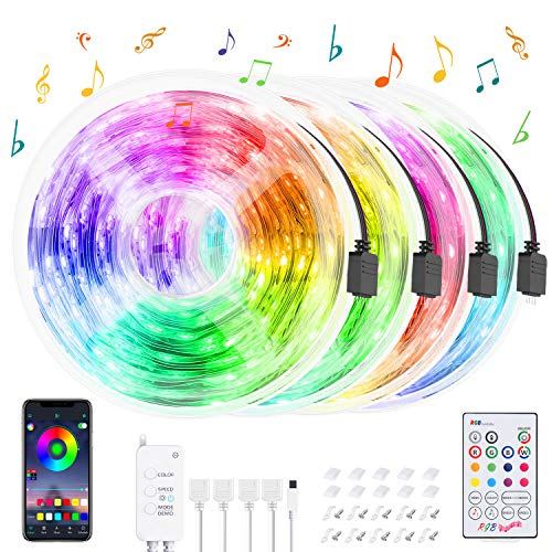 Tira LED Bluetooth 20M, HEERTTOGO Luces de Tiras LED WiFi RGB 5050 12V 5A con 300 LEDs, Ser Controlado Por APP, Sincronizado Con el Ritmo de la Música, Mando a distancia de 23 teclas para decoración