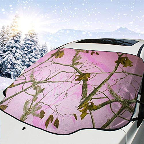 Pink Camo Oversized Windshield Snow Cover Anti-Freeze Cover Wiper Protection Cover Heavy Waterproof Coated Keep The Outside Without Ice and Clean for Most Cars