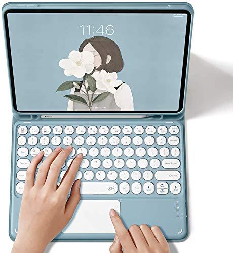 iPad Air4 キーボードケース タッチパッド搭載 2020秋発売の最新版 iPad Air第4世代専用 10.9インチ キーボードケース Apple Pencil 収納可能 ペンスロット付き キーボード付き 分離式 カラーキーボード付きカバー (iPad Air4 10.9インチ, A番-ブルー)