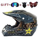 ZOLOP Adultos de Motocross para   MX Casco de motocicleta   ATV Scooter ATV MOTO   Kit de casco Gafas Máscara de guantes, certificada D.O.T (F1, S)