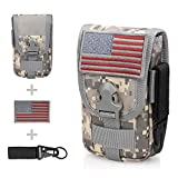 WYNEX Tactical Phone Pouch Molle, Smartphone Holster Bag EDC Utility Cellphone Lock Card Holder Organizer Fit for Waist Belt Case Include Tactical Gear Clip and U.S.A Patch