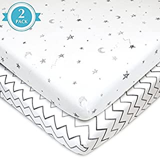 American Baby Company Printed 100% Natural Cotton Jersey Knit Fitted Portable/Mini-Crib Sheet, Grey Stars and Zigzag, Soft Breathable, for Boys and Girls, Pack of 2