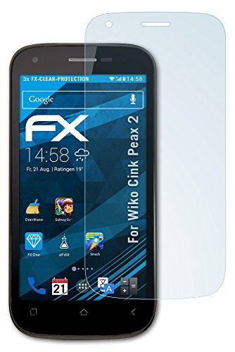 atFolix Schutzfolie kompatibel mit Wiko Cink Peax 2 Folie, ultraklare FX Bildschirmschutzfolie (3X)