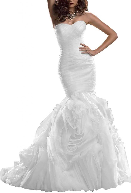 Angel Bride Modern Wedding Dresses Long Dresses Mermaid Organza Sweetheart