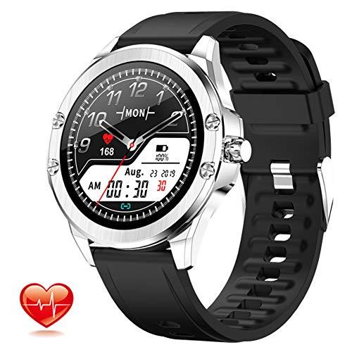 Smartwatch Sportuhr Touchscreen Fitnessuhr IP68 Wasserdicht mit Blutsauerstoff-Monitor Blutdruck Messgerät Pulsuhr Fitness Uhr sportuhr Pulsoximeter für Damen Herren Smart Watch für iOS Android,Silber