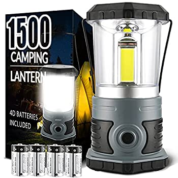 LED Camping Lantern Battery Powered 1500 Lumen COB Camping Light 4D Batteries Included  Perfect for Camp Hiking Emergency Kit