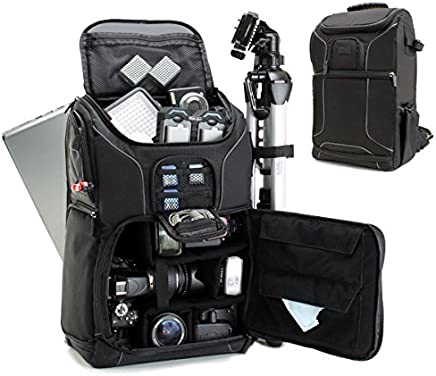 """USA GEAR Digital SLR Camera Backpack Case w/15.6"""" Laptop Compartment Featuring Padded Custom Dividers, Tripod Holder, Rain Cover. Long-Lasting Durability & Storage Pockets - Compatible w/Many DSLRs"""