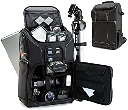 "USA GEAR Digital SLR Camera Backpack Case w/15.6"" Laptop Compartment Featuring Padded Custom Dividers, Tripod Holder, Rain Cover. Long-Lasting Durability & Storage Pockets - Compatible w/Many DSLRs"