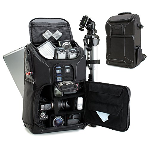 USA GEAR SLR Camera Backpack Case (Black) - 15.6 inch Laptop Compartment, Padded Custom Dividers,...