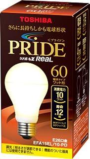 TOSHIBA ネオボールZリアルPRIDE A形 60Wタイプ 電球色 EFA15EL/10-PD 口金直径26mm