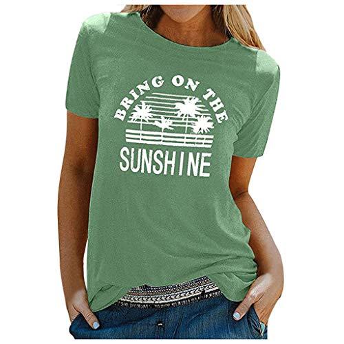 Sannysis Damen Good T-Shirt Regenbogen Muster Shirt Rundhals Kurzarm/Langarmshirt Oberteile Sommer Sunshine Oben Hemd Tops Bluse (Grün #1, XL)