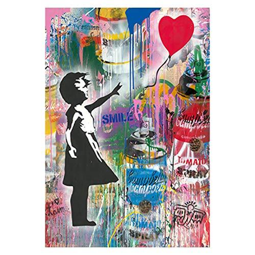 SHENLANYU Impresión en Lienzo Póster de Globos de Amor y niña Abstracta Impresiones Cuadros de Pared Modernos Cuadros de Pared Decoración de Sala de Estar 19.6'x31.4 (50x80cm) Sin Marco
