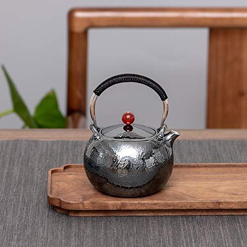 no-branded Tetera de Plata Pote de Plata esterlina Plata 999 japonés Kung fu té pequeño Blanco ebullición té de Agua ZHQHYQHHX