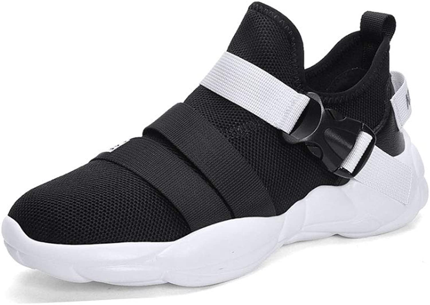 YSZDM Men'S Running shoes, Casual Elastic buckle Sports shoes Shock Absorption Breathable Non-Slip Flying Woven Mesh Sports shoes Men'S Outdoor Running shoes,Black,41