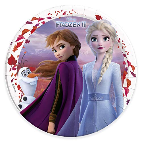 Procos 91125 - Partyteller Disney Frozen 2, 8 Stück, Durchmesser 23 cm, Anna, Elsa und Olaf, Die Eiskönigin, Pappteller, Teller, Einweggeschirr, Party, Tischdekoration
