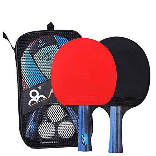 HJX888 Raquetas de Tenis de Mesa - Juego de Tenis de Mesa, 2 Raqueta de pimpón + 3 Pelotas de Tenis de Mesa + Pelotas Bolsa de Transporte,Short Handle