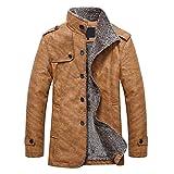 YaSaShe Stand Collar Single-Breasted Epaulet Embellished Jacket Made with Cotton/Faux Leather/Polyester (Khaki, M)