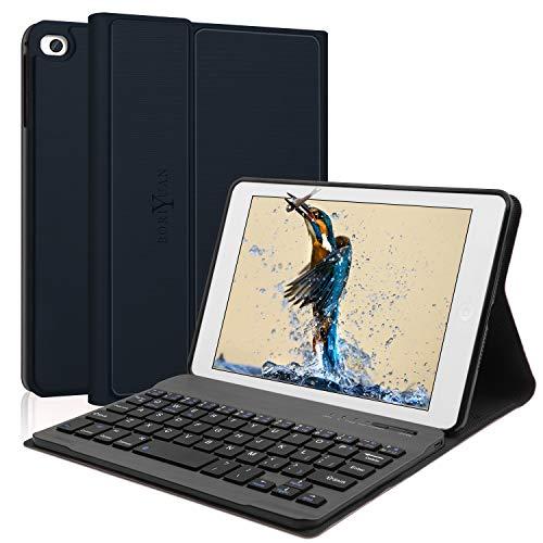 iPad Mini Keyboard Case,Compatible With iPad Mini 5/4/3/2/1,Boriyuan Folio PU Smart With Auto Sleep/Wake Feature Cover,Detachable Bluetooth Keyboard,For iPad 7.9 Inch Keyboard Case 2019(Dark Blue)