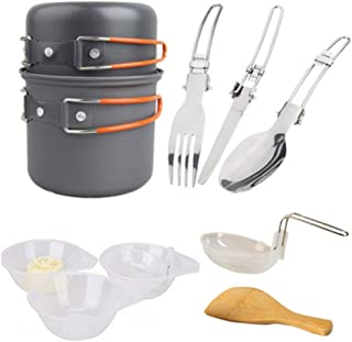 WINOMO Kit de confusão de utensílios de cozinha portátil dobrável panelas de acampamento, talheres de metal, pá de madeir...