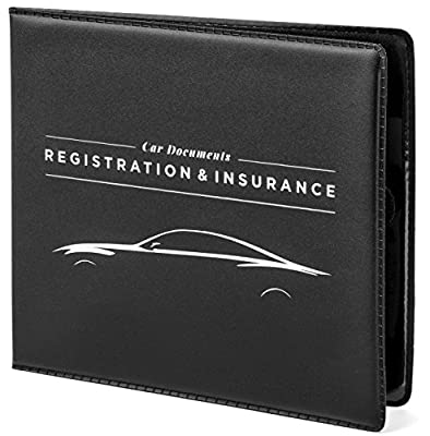 """CAR DOCUMENTS HOLDER CASE 5"""" x 4.5"""" for Insurance, DMV, Registration, AAA, Auto Club, for Car Truck SUV, Motorcycle, touch fastener closure, safely store documents in glove box or visor flap by MacoodeCompany"""