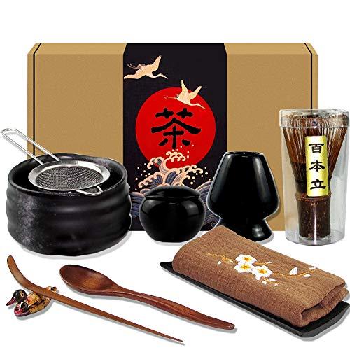 Artcome 10Pcs Japanese Matcha Tea Set, Matcha Bowl, Matcha Whisk, Whisk Holder, Traditional Scoop, Tea Spoon, Tea Cloth, Bamboo Holder, Scoop Holder, Matcha Powder Caddy, Matcha Powder Strainer(Black)