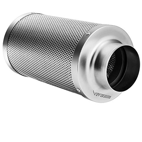 """VIVOSUN 4 Inch Air Carbon Filter Smellines Control with Australia Virgin Charcoal for Inline Duct Fan, Grow Tent, Pre-filter Included, Reversible Flange 4"""" x 14"""""""